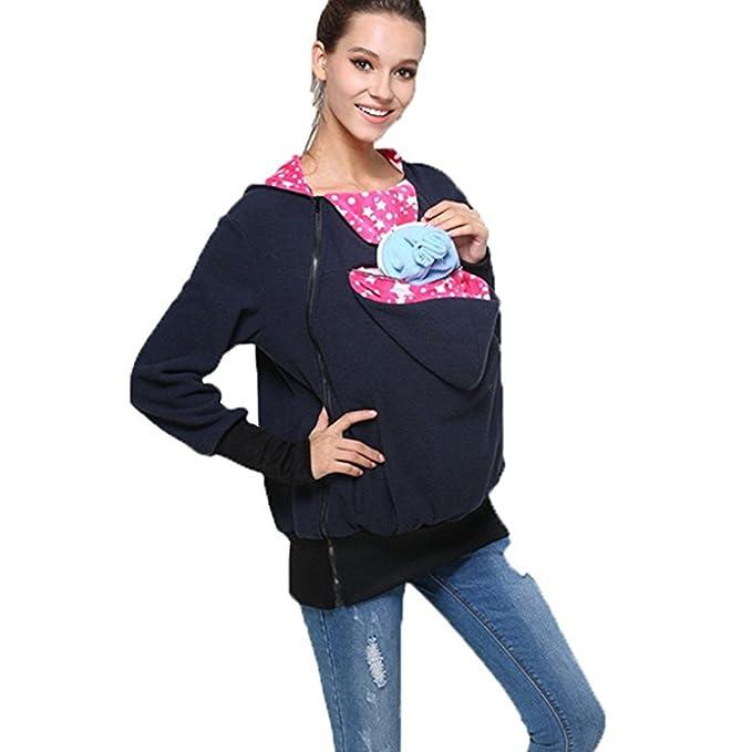 BTJP Hoodie Contraption,Womens Maternity Kangaroo Hooded Sweatshirt for  Baby Carriers (Medium 3403c6eaba