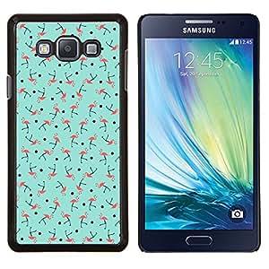 Patrón del trullo rosado del pájaro verde- Metal de aluminio y de plástico duro Caja del teléfono - Negro - Samsung Galaxy A7 / SM-A700