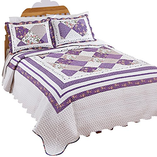 Kaylee Purple and White Floral Bedspread, Multi, - Collection Kaylee