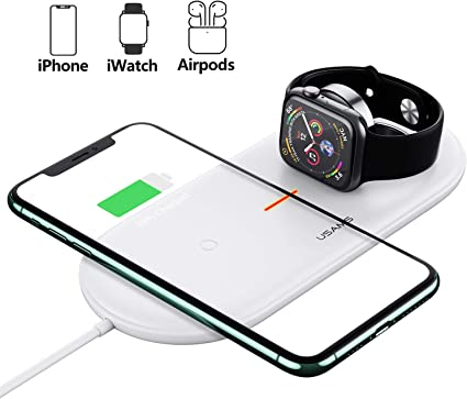 10W Fast-Charging Galaxy S10//S9//S8//Note 10//Note 7.5W for iPhone 11//11 Pro//11 Pro Max//Xs Max//XR//XS//X//8//8 Plus Qi Fast Charger for All Qi-Enabled Phones and AirPods Pro 2 in 1 Wireless Charging Pad