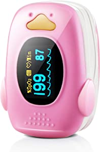 Children Fingertip Pulse Oximeter Blood Oxygen Saturation Monitor for Baby Kids and Pediatric with OLED Screen and Batteries (Pink)