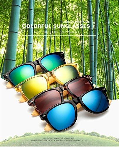 Unisexe Lunettes Bois Lunettes Lunettes soleil UV400 Noir Differentes de Femmes Couleurs Hommes Bambou 81w80