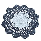 "12"" Navy and Light Blue Round Cotton Hand Crocheted Lace Doilies, Set of 3"
