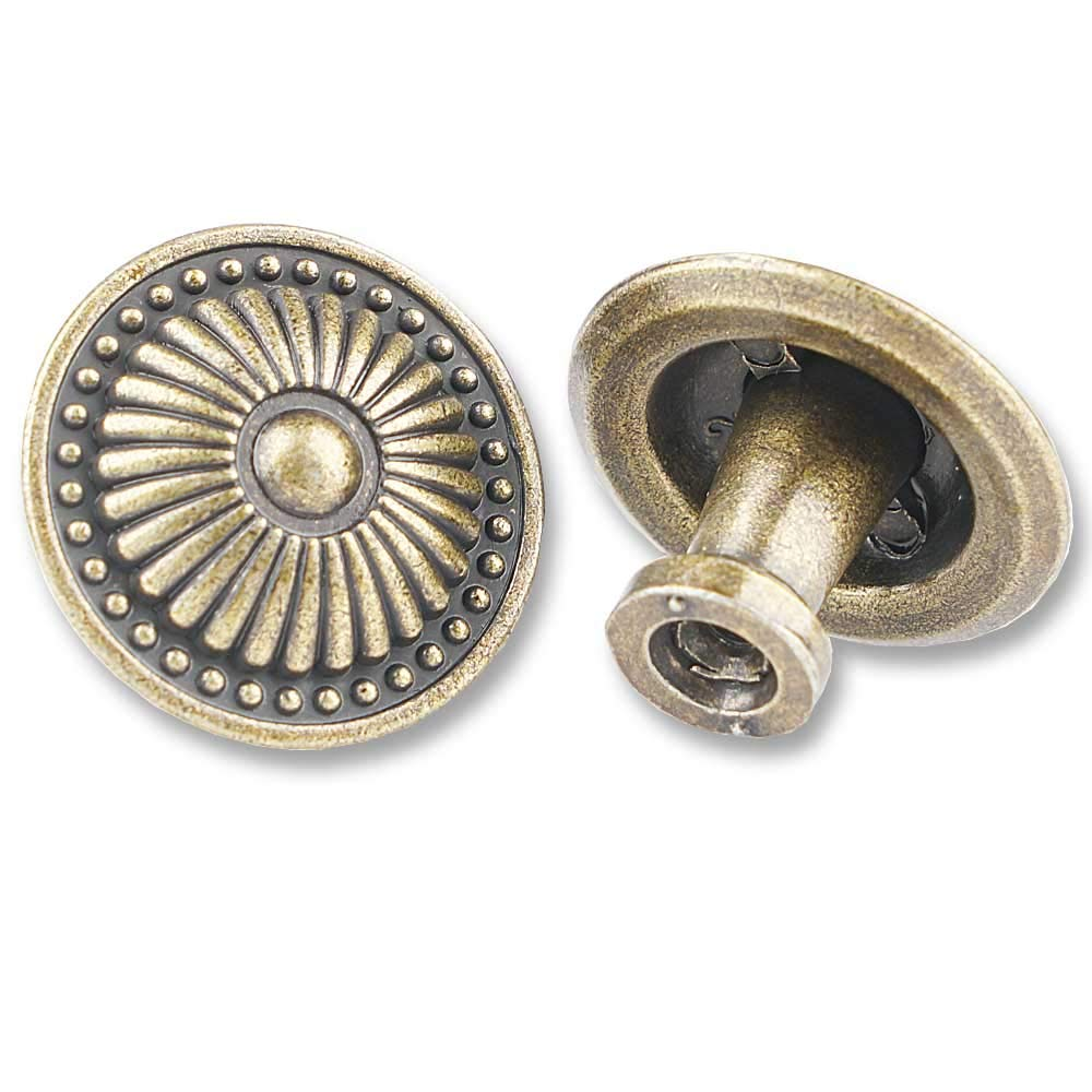 15 Packs of Antique Brass Kitchen Cabinet Knobs Pulls, Round Vintage Dresser Drawer Handles, Weathered Bronzed Victorian Floral Pattern