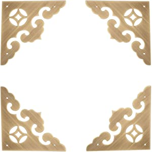 Eforlike 4 Pcs Brass Box Desk Flat Corner Protectors, Decorative Furniture Hardware (Bronze)