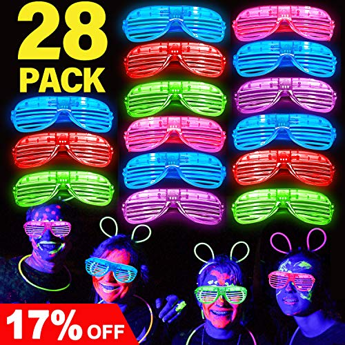 Joyork July Deals 28 Pack LED Light Up Glasses LED Light Up Party Favors Neon Light Up Shutter Shades Flashing Grow Glasses Glow in The Dark Party Supplies for Kids -