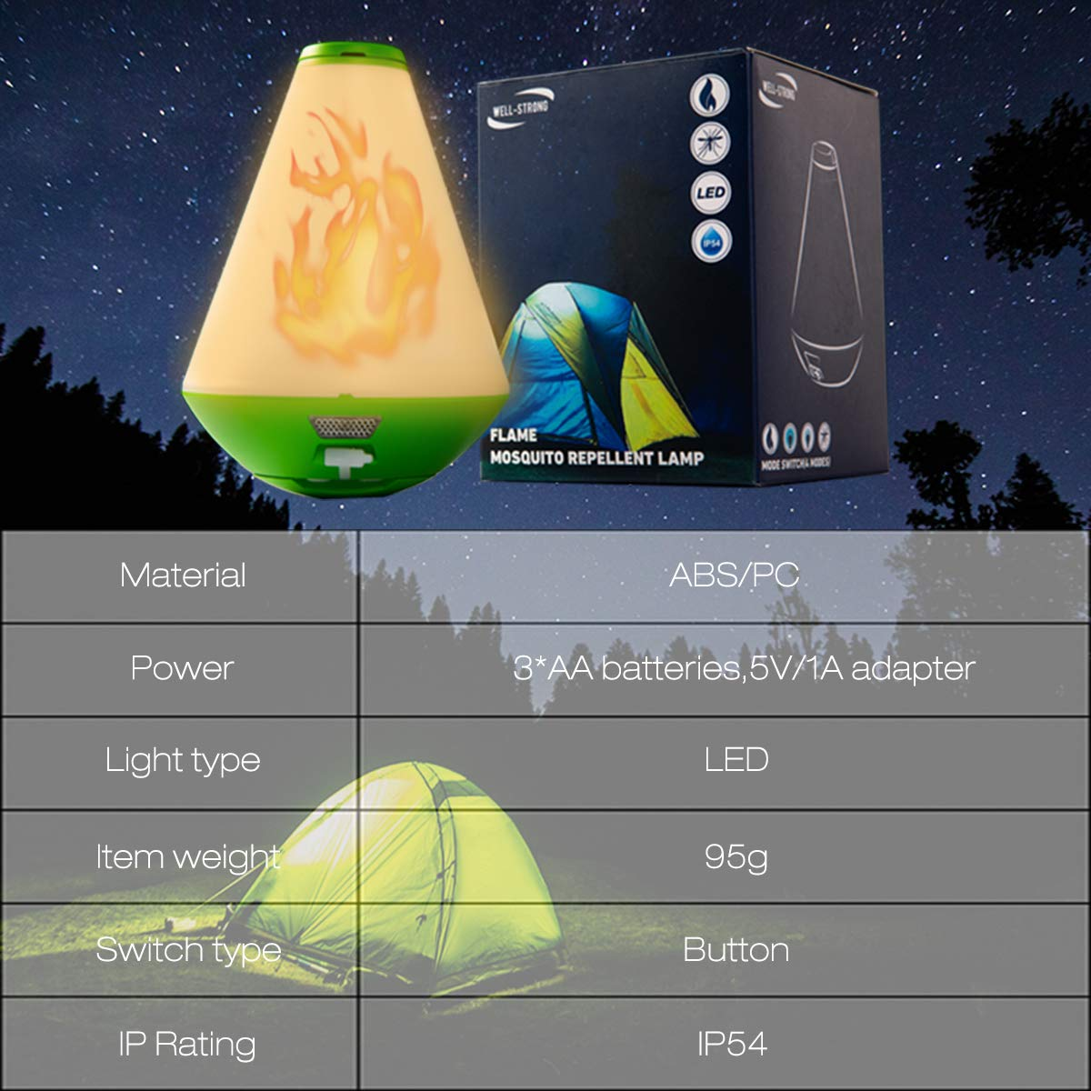 USB Rechargeable Tent Flame Light with Portable Hang Loop for Home Camping WELL-STRONG Simulated Flame Camping Lantern Mosquito Repellent Wave LED Lamp Ourdoor Use