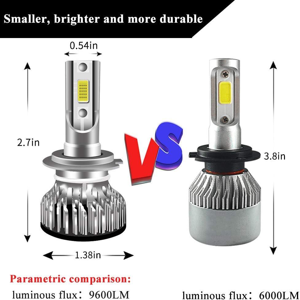H3 LED Phare Ampoules 6000K X/énon Blanc Extr/êmement Brillant COB Puces Loin//Pr/ès Faisceau LED Phare kit de Conversion