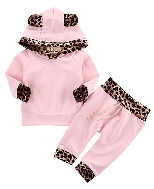 Kfnire Bebé Niñas Invierno Otoño Rosa y Leopard Edge Sudaderas con Capucha y Pantalones (70cm