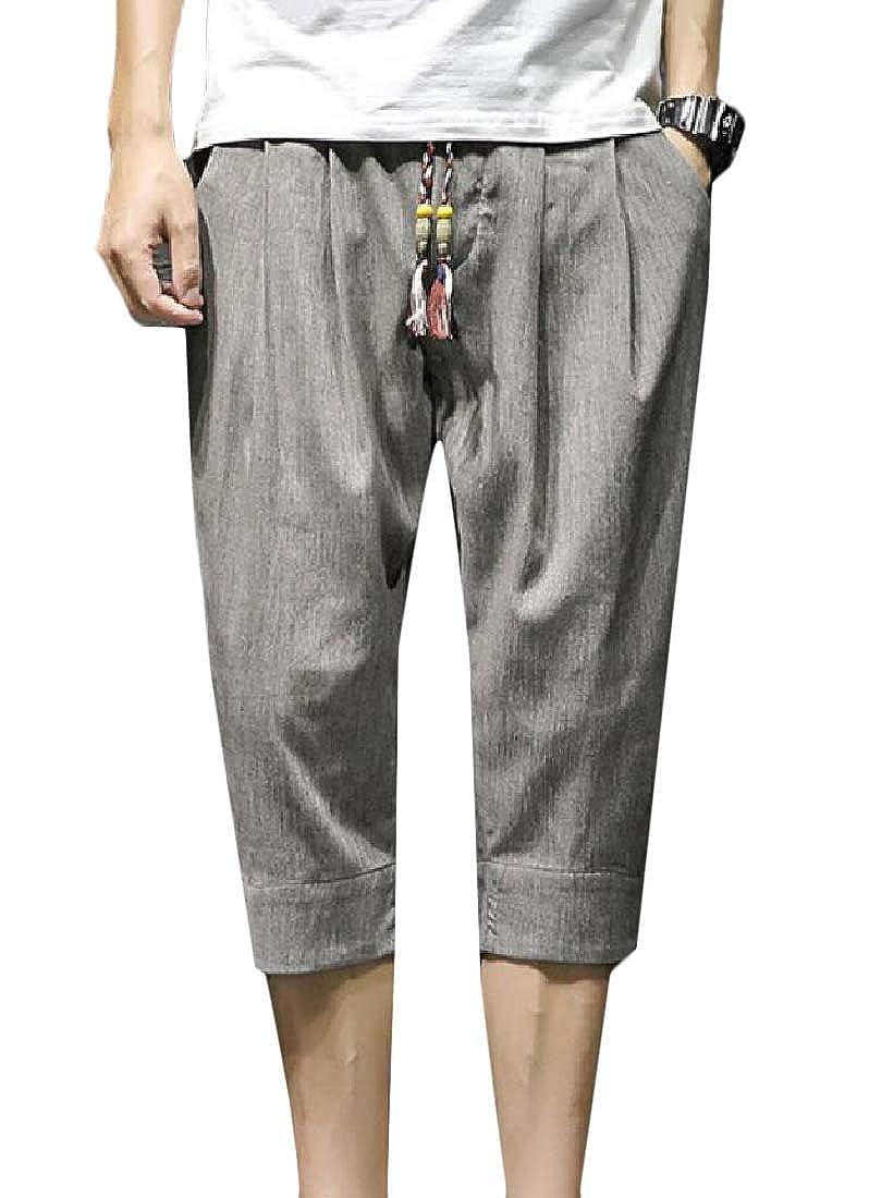 GAGA Men Patchwork Shorts Harem Capri Pants Linen Harem Pants