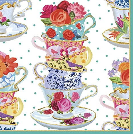 Caspari Entertaining Cocktail Napkin, Pink Tea Cups, 20-Pack 11810C