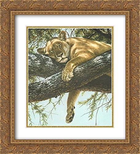 (Lake Manyara Lioness 2X Matted 18x15 Gold Ornate Framed Art Print by Guy Coheleach )