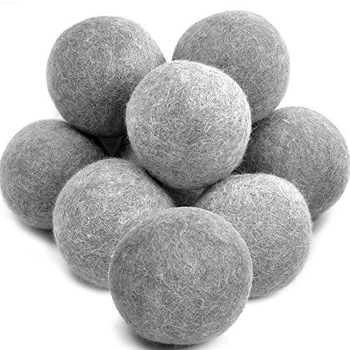 Yazer Wool Dryer Balls, Handmade Organic Wool Reusable Natural Fabric Softener Laundry Ball, XL Premium Large Dryer Balls, 10 - Pieces, Gray