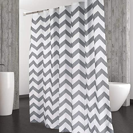 Amazon CAROMIO Shower Curtain Water Repellent Striped Chevron