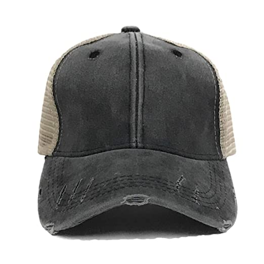 f008759f061a0 Adult Men s Women s Blank Distressed Trucker Hat Baseball Cap Black Tan  Plain Vintage (Black