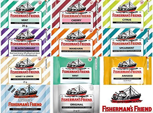 11 Flavors of Thai Fisherman s Friend Lozenges Each Pack Size 25 Gram (20-22 lozenges) with Candy Box by Fisherman's Friend Thailand