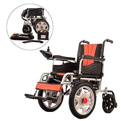 JL-Q Silla de Ruedas eléctrica Ancianos discapacitados Marco de Acero al Carbono Plegable Ligero