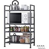 EKNITEY Adjustable Storage Shelf, Metal Kitchen Shelving, Microwave Oven Shelf Utility Storage Shelf with 4 Hooks(4-Tier…