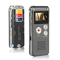 Btopllc Digital Voice Recorder 8GB, MP3 Player Mini USB Port, Audio Voice Recorder Rechargeable MP3 Player Support A-B Repeat, Voice Recorder Lecture/Conversations / Meetings/Interviews - (Grey)