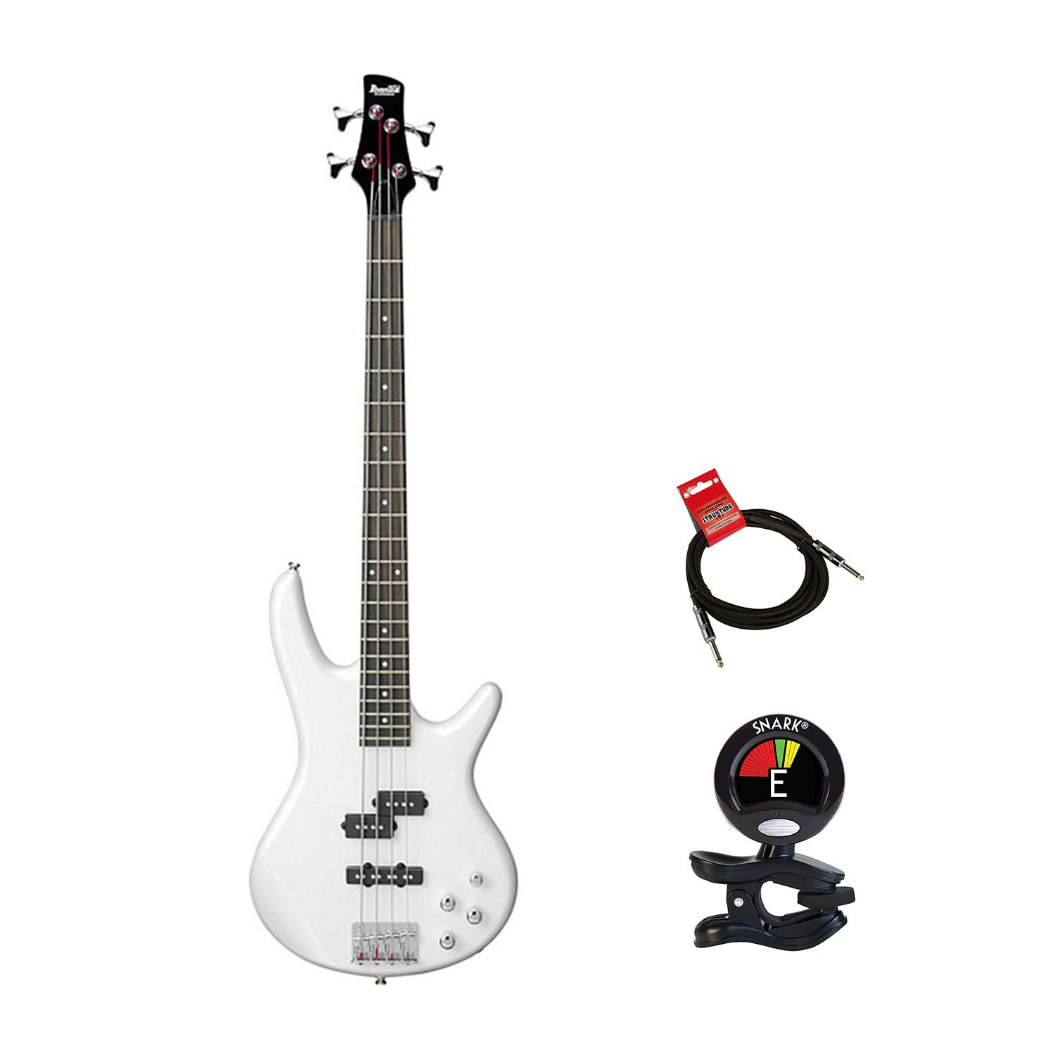 Ibanez GSR200PW GIO 4 String Electric Bass Guitar in Pearl White Finish With Clip On Guitar Tuner and Guitars Cable