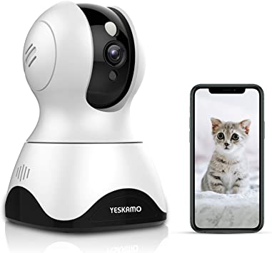 Opinión sobre Yeskamo Cámara de Vigilancia Cámara WiFi inalámbrica 1080P, Cámara de Seguridad IP Interior, Audio Bidireccional, Detección de Movimiento, HD Visión Nocturna, Notificación de Alerta