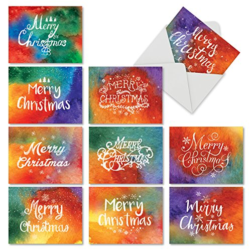 (Boxed Set of 10 'Holiday Watercolors' Blank Christmas Cards - Rainbow Sponge Art Note Greeting Cards 4 x 5.12 inch, Colorful Artsy Holiday Notes, Vibrant Painted Colors Xmas Cards M2944XSB)