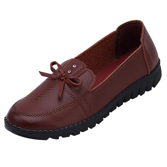Darringls_Zapatos para Mujer,Zapatillas Ocio de Mediana Edad Lady Bow, Zapatos Planos Redondos con Punta para la Madre Zapato Individual con Parte Inferior ...