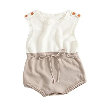 adf2f0813 Amazon.com  Gotd Newborn Infant Baby Girl Boy Knitted Romper ...