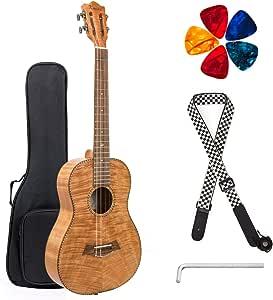 Baritone Ukulele Okoume Ukelele Beginner Kit 30 inch 4 String DGBE Tuning with Tuner Gig Bag Strap String