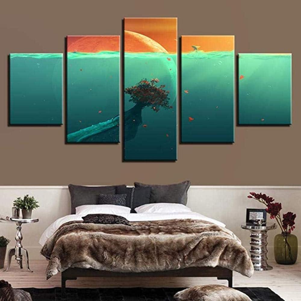 Yoplll Cuadro En Lienzo Abstracto Impresión De 5 Piezas Material Tejido No Tejido Impresión Artística Imagen Gráfica Decoracion De Pared Faro Ocean Sunrise
