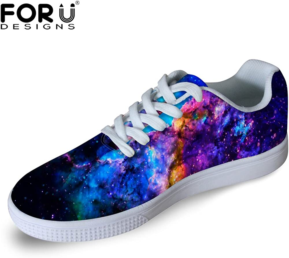 FOR U DESIGNS Casual Men s Galaxy Print Low Top Comfortable Skateboard Shoes Lace-up Sneaker