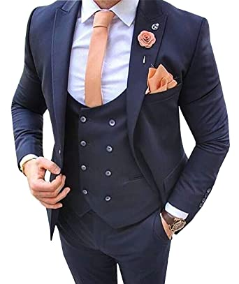 Amazon.com: Traje de hombre 3 piezas Slim Fit Notch Lapel ...