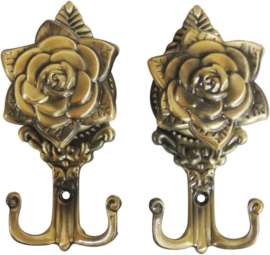 New One Pair Rose Pattern Metal Curtain Hooks Wall Decorative Hookbacks Tiebacks