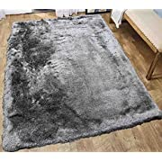Glitter Shag Shaggy Furry Fluffy Fuzzy Sparkle Soft Modern Contemporary Thick Plush Soft Pile Silver Grey Gray Two Tone Area Rug Carpet Bedroom Living Room 5x7 Sale Discount ( Harmony Silver Gray )