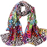 """TONY & CANDICE 100% Silk Luxurious Charmeuse Art Collection Long Scarf Shawl with Hand Rolled Edge, 62"""" L*15.7"""" W"""
