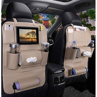 PALMOO Pu Leather Car Seat Back Organizer and iPad Mini Holder, Universal Use as Car Backseat Organizer for Kids, Storage Bottles, Tissue Box, Toys (1 Pack, Beige): Automotive