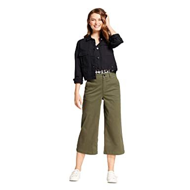 b5257c3599 A New Day Women's High Rise Wide Leg Crop Pants - Olive - at Amazon ...