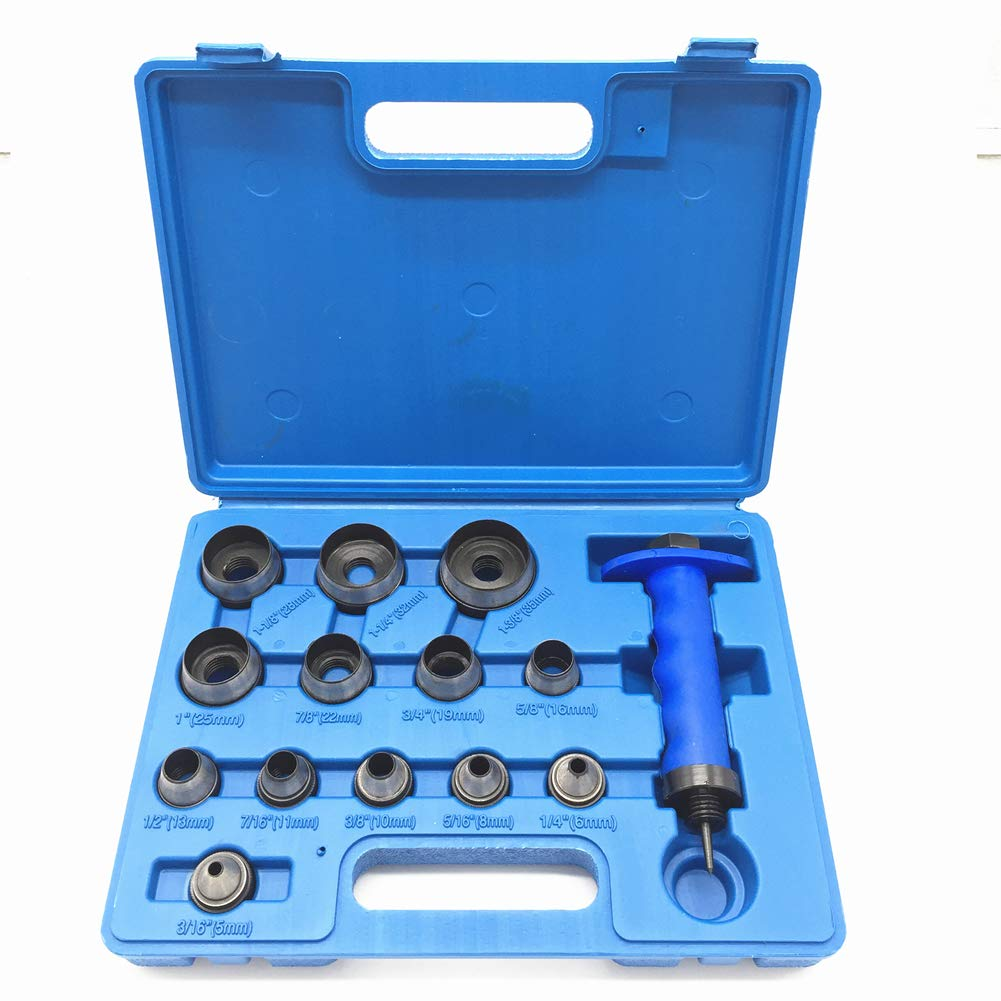JENLEY Sharp Hollow Punch Tool Set for Leather & Gasket, 3/16'' to 1-3/8'', 14-Piece