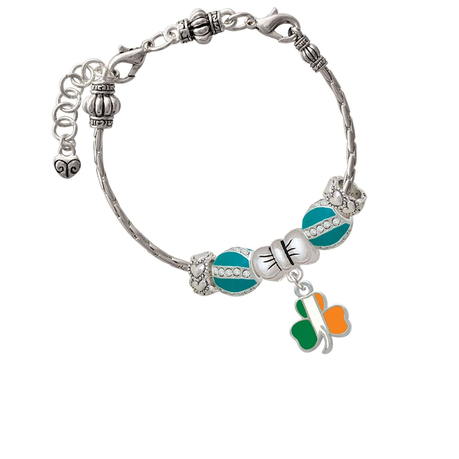 2-D Irish Flag Shamrock Emelia Bow Beaded Bracelet
