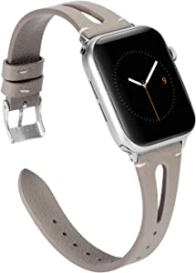 Wearlizer Leather Gray Compatible with Apple Watch Bands 38mm 40mm for iWatch SE Womens Mens Special Triangle Hole Straps Wristband Cool Replacement Bracelet (Metal Silver Buckle) Series 6 5 4 3 2 1