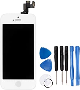 Ayake for iPhone 5s/iPhone SE Digitizer Screen Replacement White 4'' Full LCD Display Assembly with Home Button, Front Facing Camera, Earpiece Speaker Pre Assembled and Repair Tool Kits