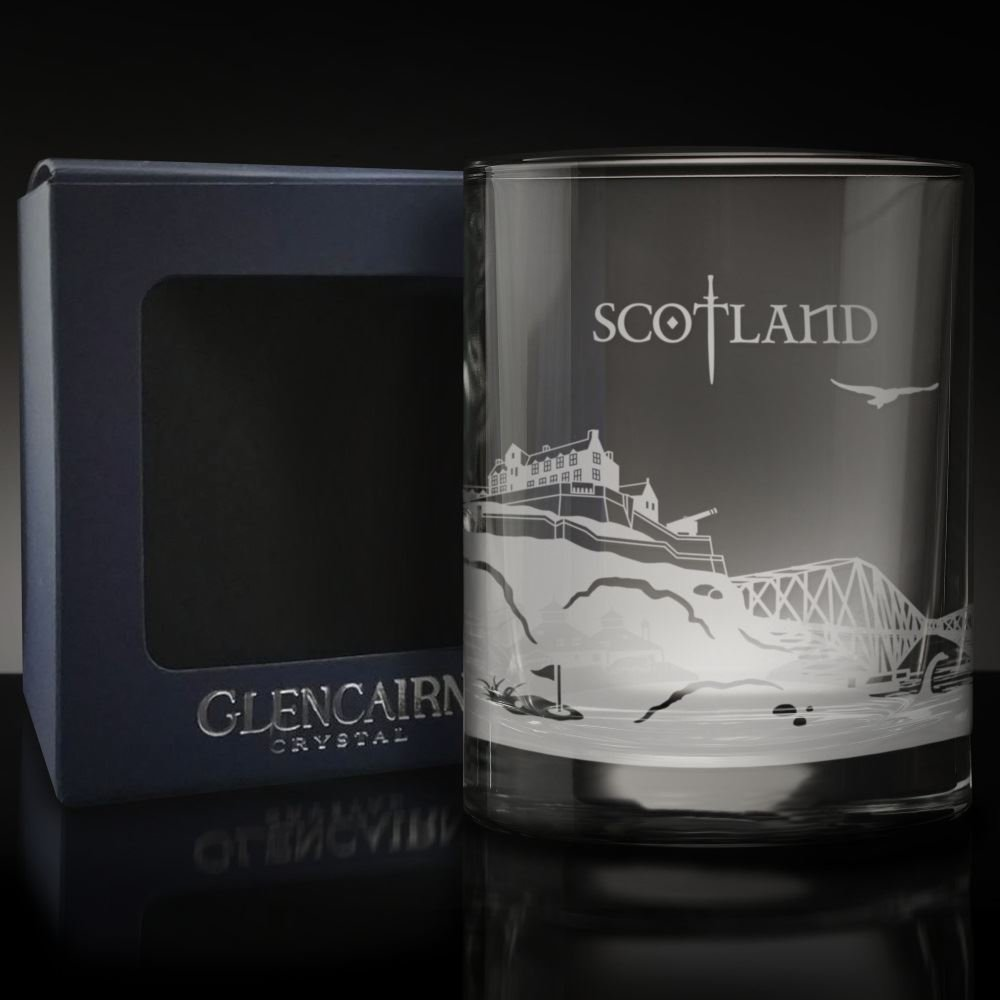Glencairn SCOTLAND Skyline Glass Etched Whisky Tumbler and Presentation Box 17cl
