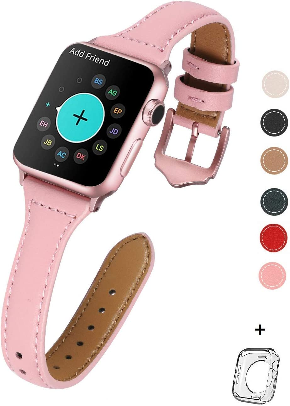 HUAFIY Leather Bands Compatible with Apple Watch Band 38mm 40mm, Top Grain Leather Band Slim & Thin Wristband for iWatch Series 5/4/3/2/1 (Pink Band/Rose Gold Buckle, 38mm40mm)