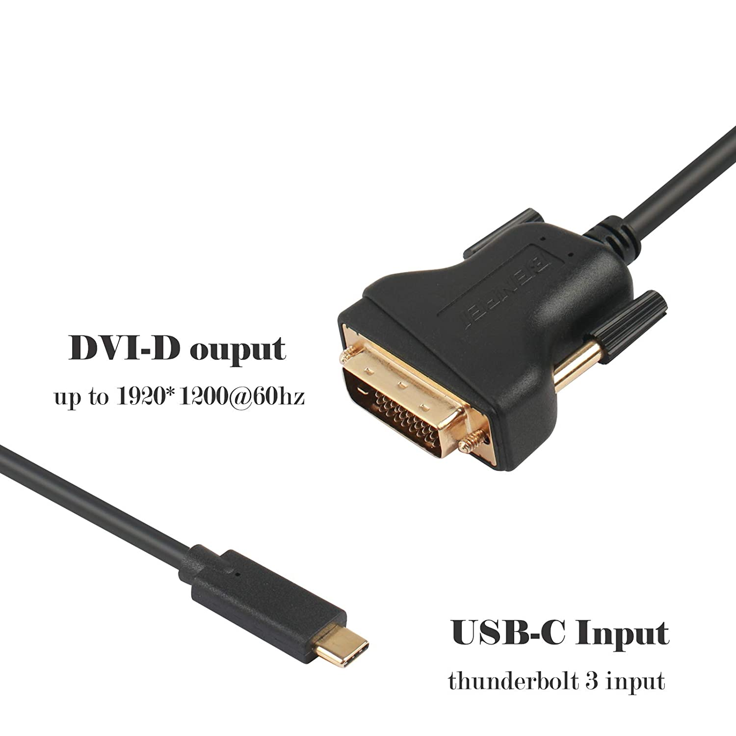 USB-C to DVI-D Cable Male to Male Adapter Compatible with New MacBook 2015,2016,2017,2018 BENFEI USB C to DVI 6 Feet Cable Thunderbolt 3