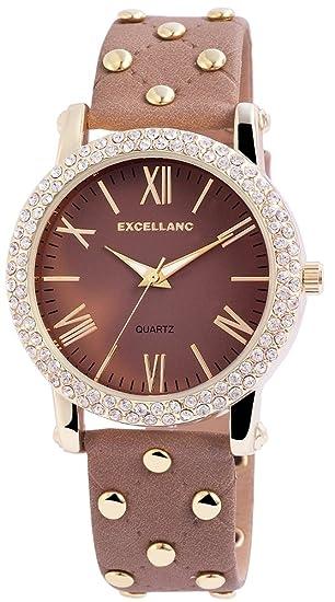 Excellanc llanc Mujer Reloj Reloj Reloj de pulsera piel imitations pulsera brillantes Remaches marrón goldfarbig: Amazon.es: Relojes