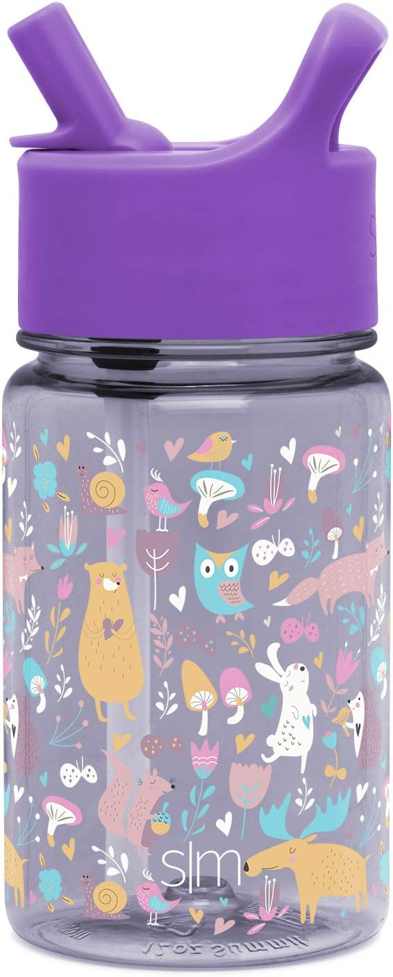 Simple Modern 12oz Summit Kids Tritan Water Bottle with Straw Lid for Toddler - Dishwasher Safe Travel Tumbler - Woodland Friends