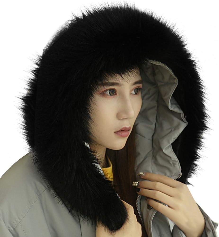 Amorar Bufanda de piel sintética con cuello de rayas para mujer, para invierno, chaqueta parka