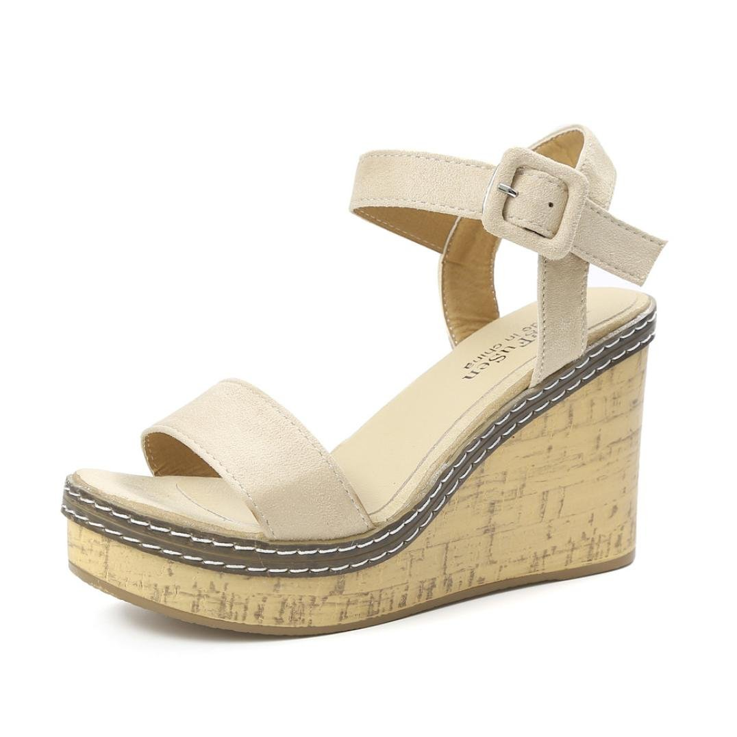 Sunbona Wedge Sandals for Women,Ladies Summer Peep Toe Ankle Buckle Platform High Heels Wedge Sandals Wedding Party Shoes (US:7(RU/EU/CN38), Beige)