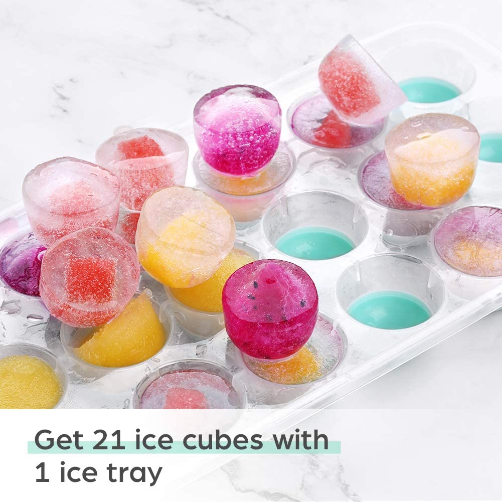 Liorque Ice Cube Trays 4 Pack, Flexible 84-Ice Trays with Spill-Resistant Removable Lid, Reusable and BPA Free, Green: Kitchen & Dining