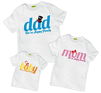 f18199ff Amazon.com: picontshirt Matching Family We are Happy Dad Mom Baby T ...